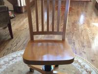 Desk wood chair - sturdy well made Mechanics work Note