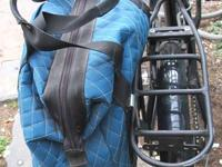 Commuter bag with standard rack attachment clips,