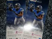 I have two tickets for the Detroit and buffalo game on
