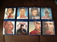 """Dexter""  The complete set of seasons 1-8 in Blu-Ray."