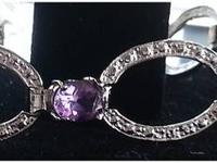 Stunning Amethyst and Diamond Bracelet embeddeded in