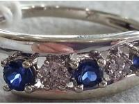 Beautiful diamond and sapphire ring !!  10kt White gold