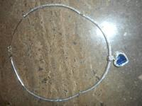 Beautiful 14K white gold Omega necklace choker length