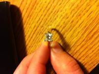 Beautiful, princess cut, 1.08 carot diamond ring.