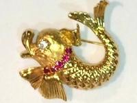 Diamond, Ruby Gold Fish BroochYellow Gold (not