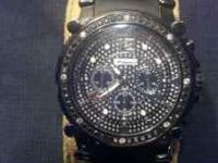 Diamond sport watch ...2ct...black diamonds along with