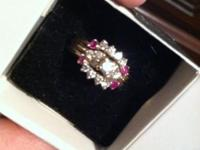 Diamond Wedding band ring with 4 rubies, size 8 can be