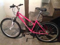 I am selling a remarkable pink mountain bicycle. It has