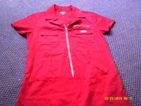 -Dickies red zipper-front Betty Ford style dress size