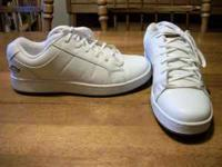 Size 12 Dickies men's nurses shoes, white leather, worn