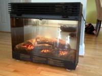This is a Dimplex electric fireplace insert with trim