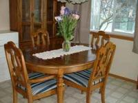 Beautiful solid wood dinette set with lighted china