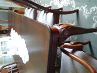 Formal cherry & ebony dining rm. table & 6 chairs,