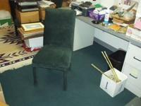 4 matching dining room, or kitxhen chairs, green fabric