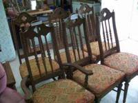 1 captain Chair, 5 side chairs, Spanish Oak, Upholstery