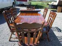 FOR SALE IS A DINING ROOM OUT FIT DARK PINE HAS TABLE