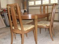 "DINING ROOM TABLE OVAL 42"" X 63"" SET-BROWN WOOD W/ 4"