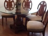 "54"" round beautiful glass top hardwood dining room"