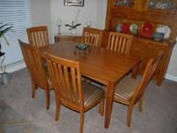 Mission Style Keller Oak Dining Table seats 8 when leaf