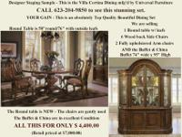 Magnificent LARGE ROUND Dining room Table with 6 Side