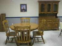 Dining Room Table, 4 Chairs and Hutch (Kincaid Solid