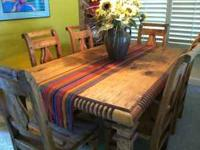 Beautiful dining room table for sale. Solid Pinyon with