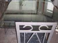 Solid glass (including pedestal) dining table and 4