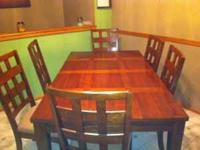6 chair dining room set with leaf to make it for 8