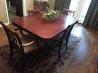 Antique dining space table with 5 chairs and 1 captains