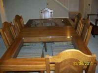 Table with leaf 6 chairs (2 arm) Lighted China cabinet