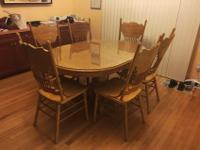 Used dining set. Comes with 1 table, 6 chairs, a glass