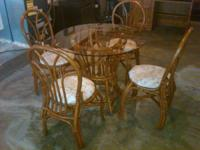 Bamboo Rattan Dining table with glass top, 4 chairs,