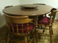 Maple dining table & four matching chairs for sale.