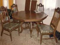 Dining table, 4 chairs, 2 leaves $70.00 cash Table