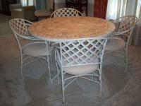 "DINING TABLE & FOUR UPHOLSTERED CHAIRS ""Garden Trellis"""