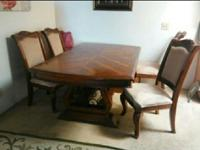 Pedestal beechwood dining table from wickes furniture.