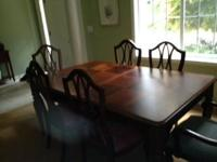 "Solid cherry Stanley dining room table 44""x70"" with two"