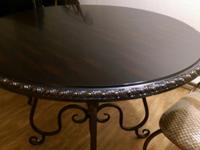 Metal brown round dining table and 2 chairs from Pier 1