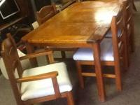Solid wood kitchen table with 5 oversized chairs $125
