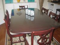 Gorgeous table and chair set with custom-made cut glass