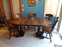 Wood Dining Table, two leaves and 5 chairs (2 of which