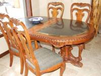 Beautiful Mahoghany & marble top dining room table,