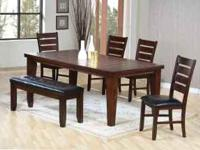 New dining table set Table, 4 side chairs and 1 bench