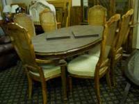 Dining Table With Two Leafs, Pads And Six Chairs. To