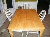 Dining Table with 3 Chairs Table is light oak color and