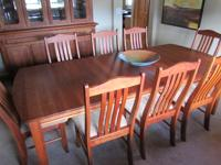 Solid cherry dining room table, two leaves, eight