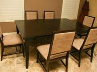 7 piece dining room set. New, never used but covered