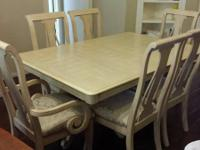 Gorgeous Dining space Table with 6 chairs and China