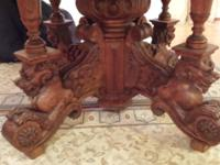 Continental Renaissance Revival carved oak table with 3