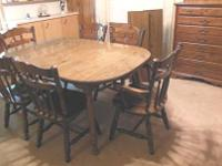 Dining Table, 6 Chairs & Chest of Drawers. Dining